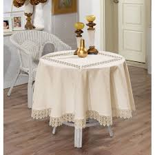 luxury cream tablecloth with lace finish edge and lace insert 160cm 63 round