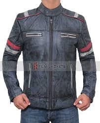racer style distressed biker jacket