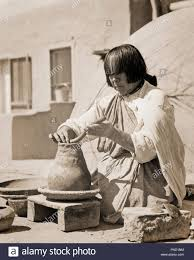 1930s Native American Indian Woman Artist Making Pottery San