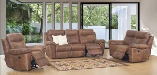 1203 3 piece top grain buffalo leather reclining sofa set in woodland spice brown