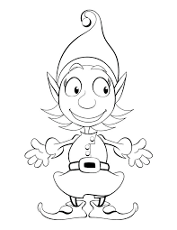 Unbelievable Cute Elf Coloring Pages Christmas Elves Inside Santa