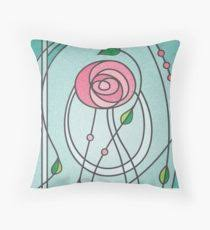 mackintosh rose throw pillow