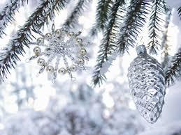 Foto Kunstdruck Winter Schnee Weihnachten Draußen Dekoration Christbaum Geschmückt Close Up Detail Christbaumschmuck Zapfen Hängend Tannenzapfen Von