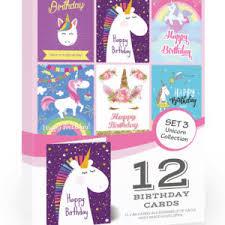 12 X Unicorn Birthday Cards Fun Unicorn Designs With Envelopes