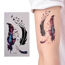 красочные маленькие перья хна паста для временных тату женская татуировка рукав