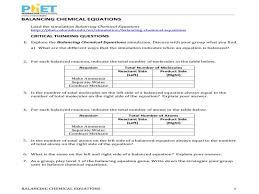 balancing chemical equations worksheet source phet balancing chemical equations worksheet answers