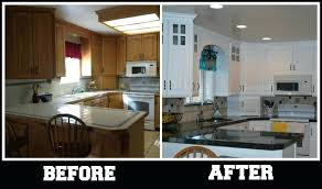 replace kitchen countertops kitchen renovation before and after with repainting kitchen cabinet to white and replace kitchen to black granite also kitchen