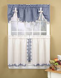 Plaid Kitchen Curtains Valances White Polished Window Using White Cafe Curtain Combined With Blue