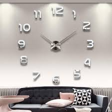 whole home decoration big number mirror wall clock modern design large designer wall clock 3d watch wall unique gifts 1611371 wooden wall clocks for