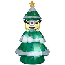 Animated Airblown Inflatable Minion Christmas Tree