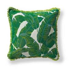 Our Amazon Emerald Outdoor Pillow features a pattern of oversized