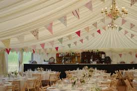 bunting and chandeliers