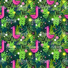 Tropische Naadloze Patroon Met Roze Flamingos En Palm Bladeren