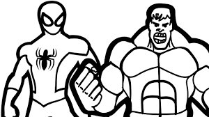 spiderman and hulk coloring book pages kids fun art at