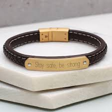 personalised mens leather and gold id bracelet