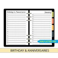 Birthday Tracker Anniversary Planner Birthday Lists Filofax A5 Half Letter 12 Months