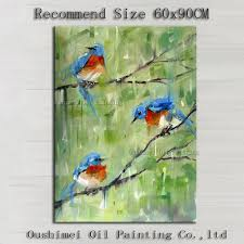 free good quality impression blue birds oil painting on canvas handmade beautiful knife painting bird oil painting