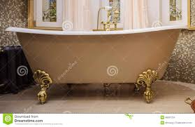 bathroom with old fashioned bathtub stock photo image