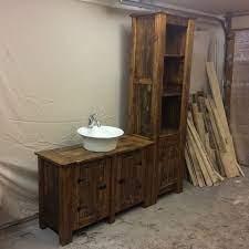 Rustic Reclaimed Wood Bathroom Vanity And Storage Cupboard Etsy