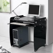 black clear glass computer desk workstation large