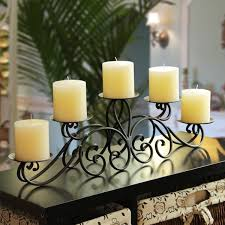 adeco 5 pillar iron table top candle holder