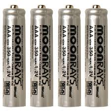moonrays rechargeable 350 mah nicd aaa batteries for solar powered units 4 pack