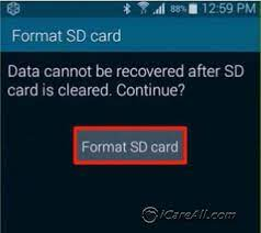 format sd card android phone internal
