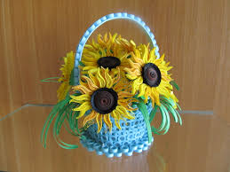 Quilling Home Decor Basket With Sunflowers Handmade Home Decor Summer Decor 3d