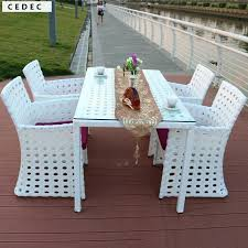 rattan dining table 5 patio furniture set outdoor backyard long square and 4 chairs white with