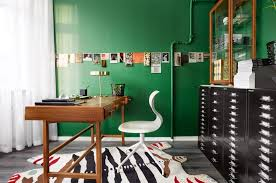 green home office. Perfect Green Contemporary Home Office With Exposed Pipe On Green Walls Filing Cabinet  And A Whimsical Rug Throughout Green Home Office N
