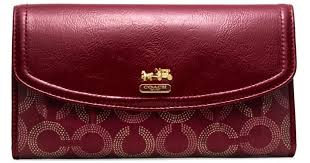 Coach Madison Dotted Op Art Checkbook Wallet in Red - Lyst