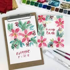 Watercolor Weihnachtsstern Mit Metallic Effekt Mädchenkunst