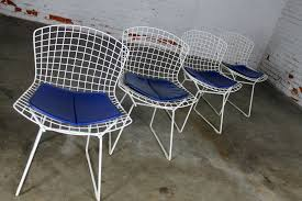vintage mid century modern bertoia white wire side chairs w blue seat pads set