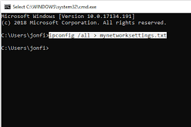 screenshot showing how to redirect the ipconfig mand results to a text file