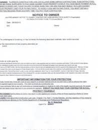 notice to owner form florida contractors notice services inc home
