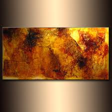abstract painting original contemporary modern fine art yellow canvas art by henry parsinia 48x24