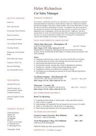 Sales Manager Cv Template Car Sales Manager Resume Template Sales Resume Examples