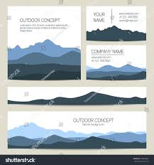 Blue Mountains Web Design Set Blue Mountains Forest Backgrounds Vector Stock Image