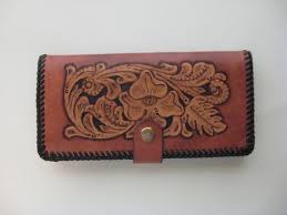 deluxe checkbook cover light mahogany finish brown lacing handtooled leather c0003