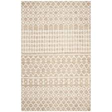 safavieh contemporary area rug 5x8 hand tufted wool in beige ivory