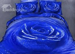 64 3d blooming blue rose with dewdrop printed cotton 4 piece bedding sets