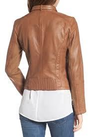 bernardo zip front leather biker jacket regular petite nordstrom rack