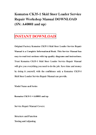 komatsu ck35 1 skid steer loader service repair workshop manual downl