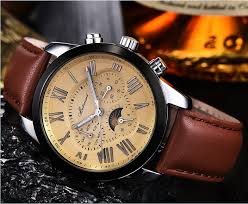 aliexpress com buy classic vintage r numerals mens wrist aliexpress com buy classic vintage r numerals mens wrist watches luxury brand genuine leather blue face complete calendar watch men gift box from