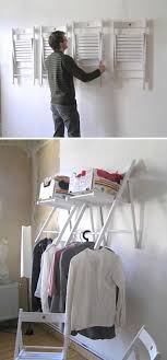 hanging chair organizer folding chairs are hung on the wall to provide extra storage shelves