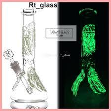 glow glass glow in the dark bong jellyfish glowing glass beaker bongs fluorescent bong water pipes