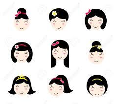 別の髪型でかわいい女の子キャラクターのセットですアニメ スタイル