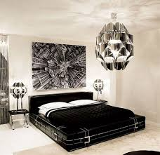 Silver Black And White Bedrooms Black And White Bedroom Concept With Unique Bed Lamp And Artistic