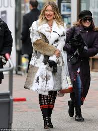 fierce fashion hilary duff stepped out in a knee length fur coat in new