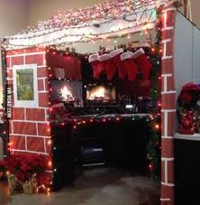 office christmas decorations ideas. christmas cabin for u0027best decorated cubicle contestu0027 office decorations ideas